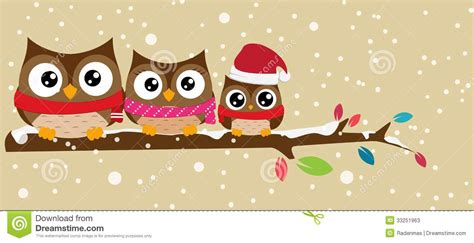 owl family   branch christmas banner stock vector illustration  animal ornament