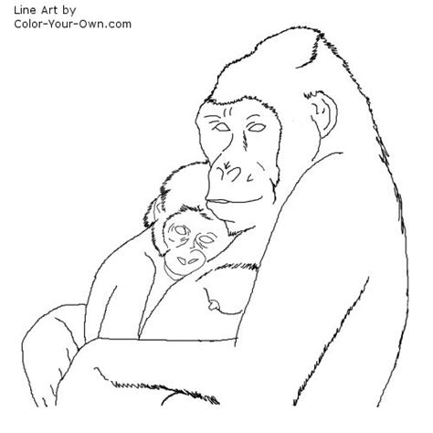 baby gorilla coloring page wildlife mother and baby gorilla coloring page