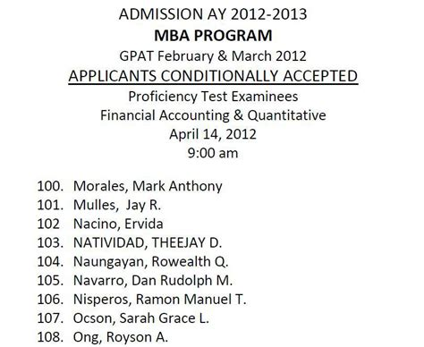 Least Quantitative Mba Programs by Up Mba Application Experience Rm Nisperos