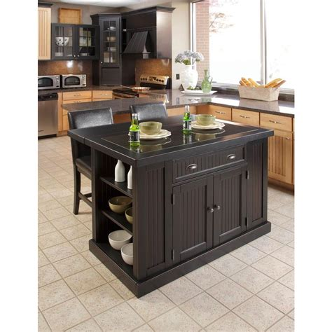 Black Kitchen Island With Seating Home Styles Nantucket Black Kitchen Island With Seating 5033 949 The Home Depot