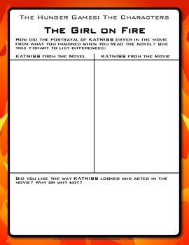 the hunger games themes worksheet answers the hunger games book vs movie activities hunger games