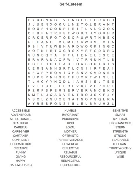 printable word search self esteem search results for crossword puzzles search calendar 2015