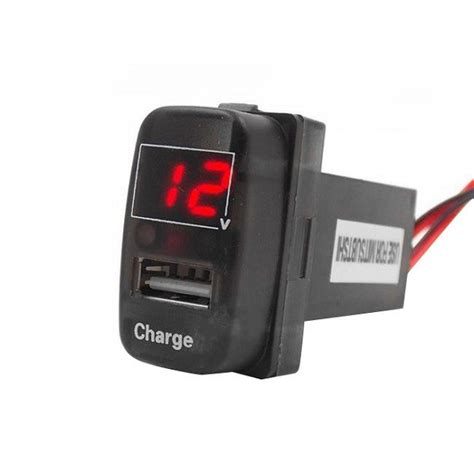 car battery charger voltage jz5002 1 car battery charger 2 1a usb port with voltage