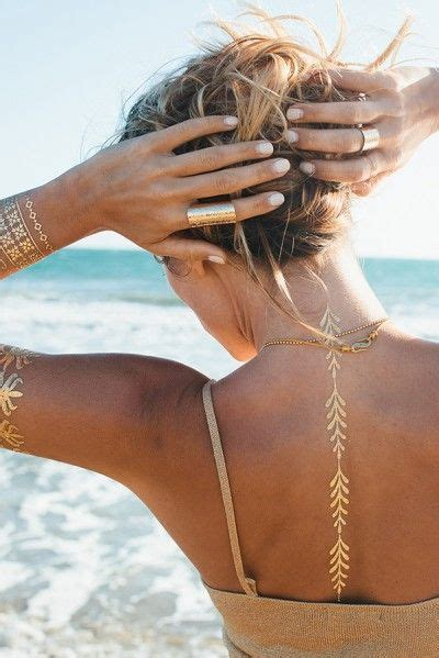hot new trend alert rock gilded temporary tattoos like rock your style with gold metallic flash jewelry tattoos