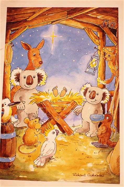australian nativity aussie card animals nativity flickr photo