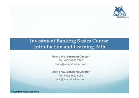 Do You Need An Mba For Investment Banking by Investment Banking M A Investment Banking