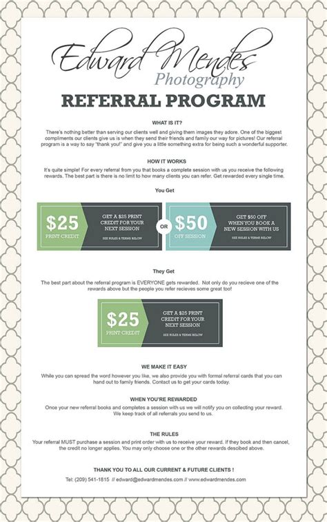 photography referral card templates refer a friend and save big edward mendes photography edward mendes photography