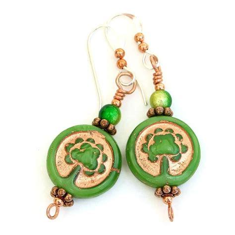 Earrings Handmade Designs - tree of handmade earrings green gold glass