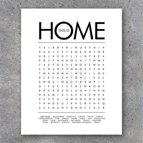 free house search this is home word search modern wall art by