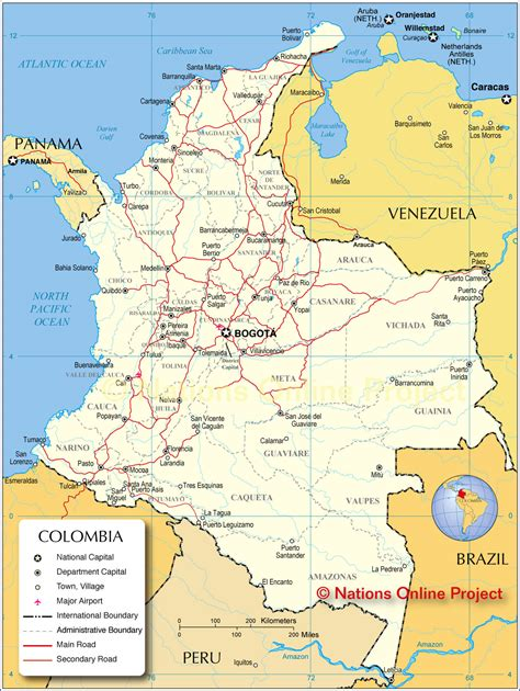 map of columbia map of colombia nations project