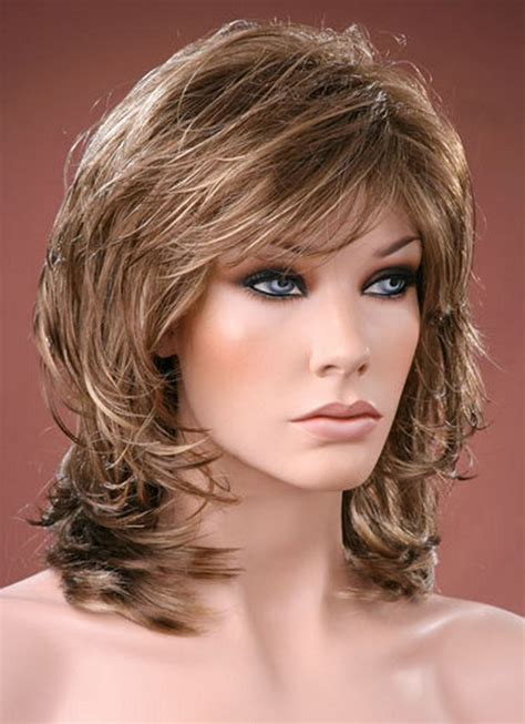 brown with blonde highlights wig ladies medium wig tousled layers style brown with ash