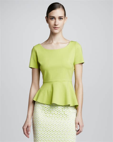 Blouse Lime elie tahari landon peplum blouse electric lime in green lyst
