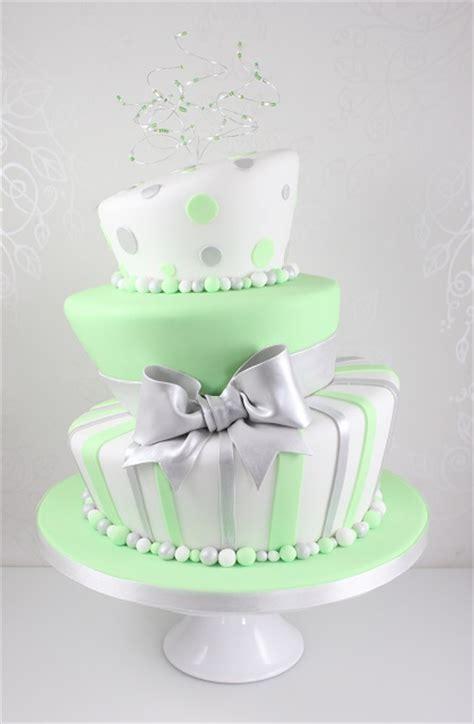click  enlarge image wonky silver  green spot  stripe  tier wedding cakejpg