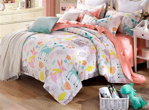 kids cotton comforter happy time pattern 4 pieces kids cotton duvet cover sets
