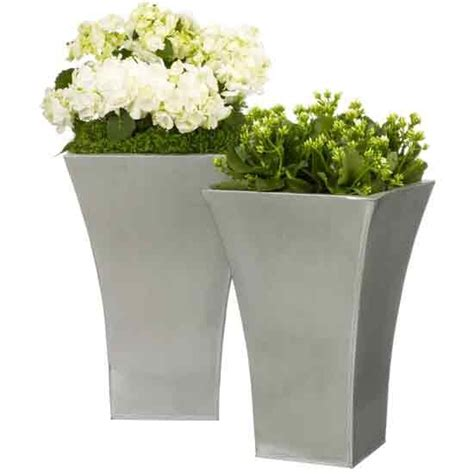 Ideas For Garden Pots And Planters by Flared Titanium Planters From Lewis Outdoor Pots