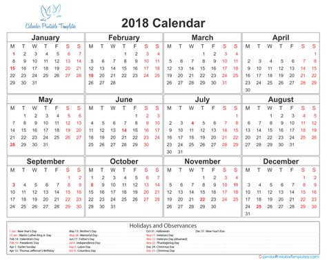 2018 Calendar Printable Template Excel Word With Holidays Usa Calendar Template Letter Format Excel Calendar Template 2018 With Holidays