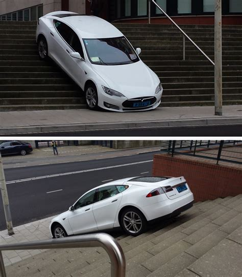 tesla taxi tesla taxi tried to drive stairs den haag the