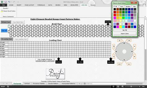 bead pattern software kumihimo bead placement mapping eight element beaded