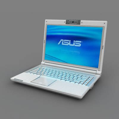 Laptop Asus White white asus notebook 3d max