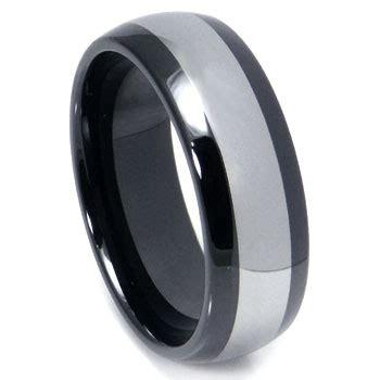 black ceramic tungsten inlay dome wedding band ring