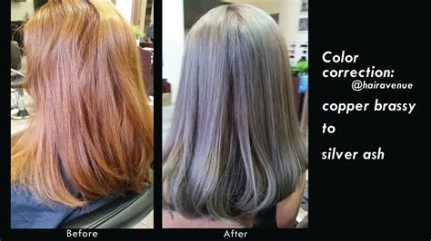 how to fix copper hair color correction brassy copper to silver ash with extra