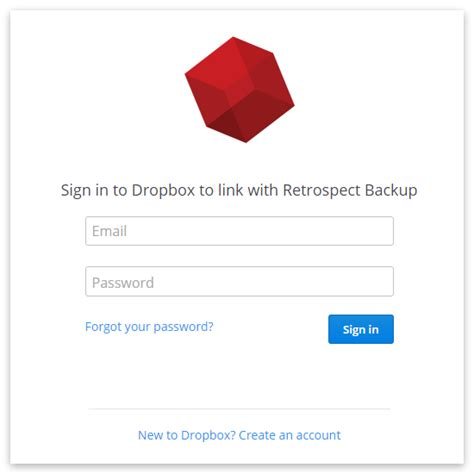 dropbox new account retrospect knowledge base gt cloud backup how to set up