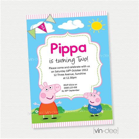 Printable Birthday Cards Etsy | peppa pig birthday invitation diy printable by vindee on etsy