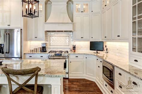 White Kitchen Cabinets With Black Hardware by Island With Shelves Transitional Kitchen Stonecroft