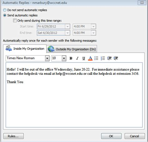 Auto Reply by Out Of Office Assistant Now Called Automatic Replies