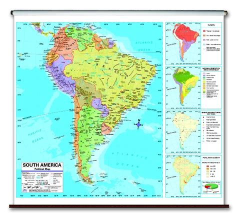latitude map america continent political school roller wall maps