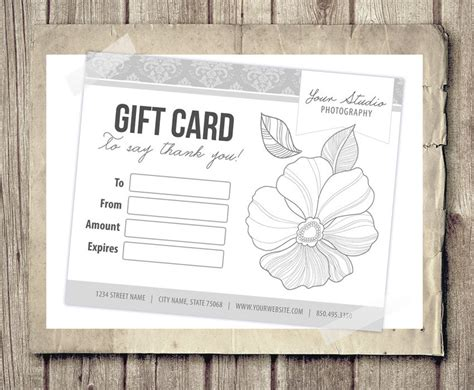 gift card certificate template for photographers pink damask