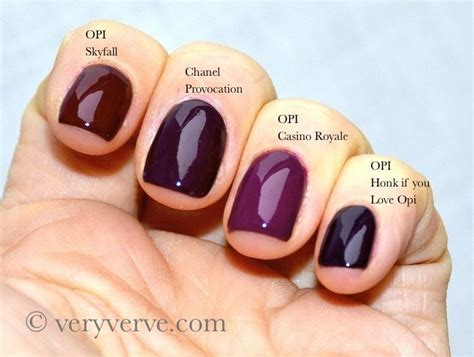 opi fall colors veryverve chanel provocation nail comparison