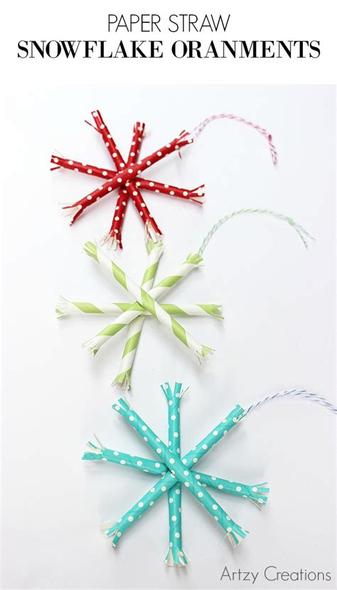 How To Make Paper Straw - paper straw snowflake ornaments artzycreations