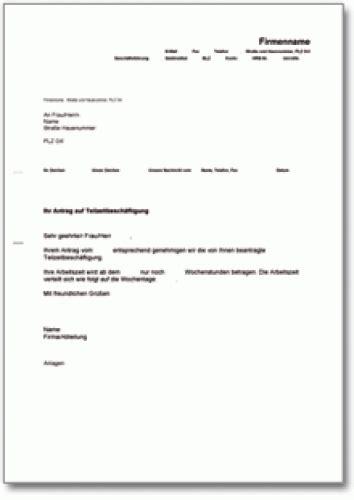 Musterbriefe Korrespondenz Bewilligung Teilzeitarbeit