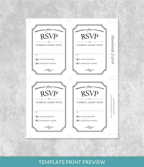 vintage wedding type rsvp card template download print