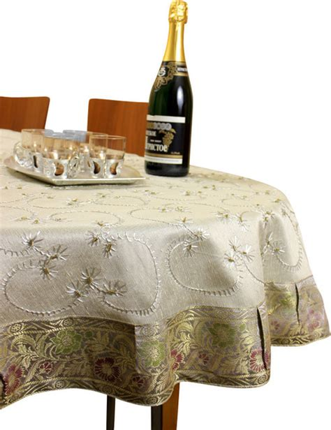 hanukkah tablecloth metallic 70 round embroidered tablecloth silver 70 quot traditional tablecloths by banarsi