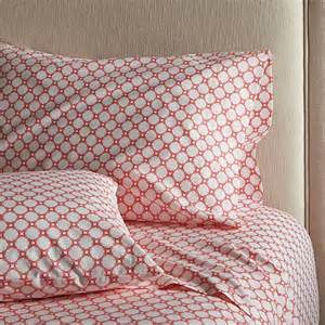genevieve coral queen sheet set crate and barrel