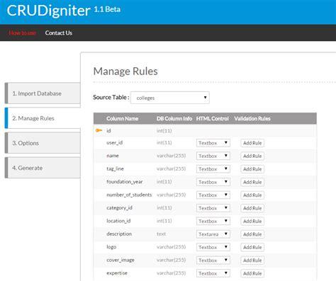 codeigniter code generator crud crudigniter codeigniter auto code generator for crud