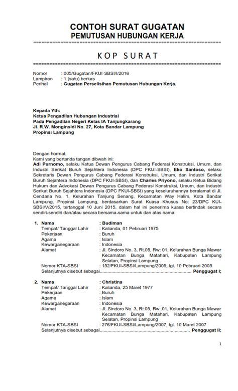 contoh format jawaban gugatan cerai contoh surat gugatan wanprestasi