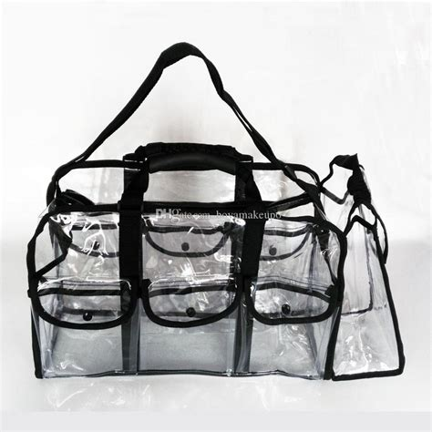 Msq Tas Make Up Bag transparent clear makeup bag with belt handle zipper small