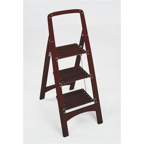 Cosco 3 Step Stool With Tray by Cosco Rockford 3 Step Mahogany Wood Step Stool Ladder With
