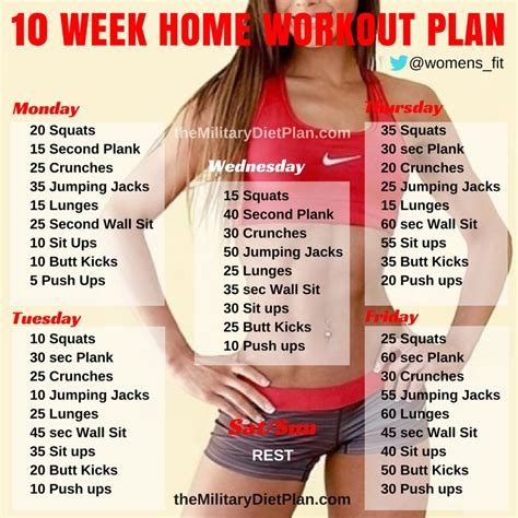 10 week no home workout plan diet