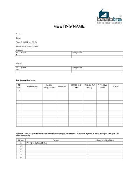 format mom baabtra mom minutes of meeting template