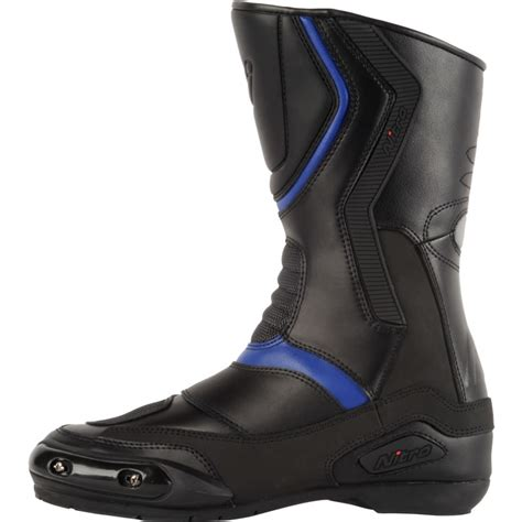 blue motorbike boots nitro nb 41 cruiser touring cuir imperm 201 able bottes moto