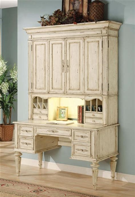 Vicenza Desk W Hutch In Antique White Finish Hooker Antique Desk With Hutch