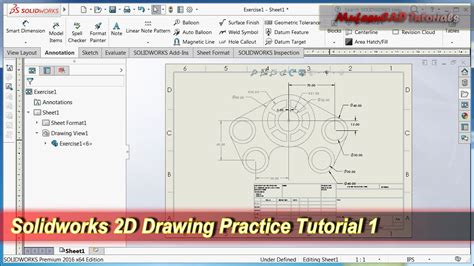 solidworks tutorial version solidworks 2d drawing practice tutorial basic exercise 1