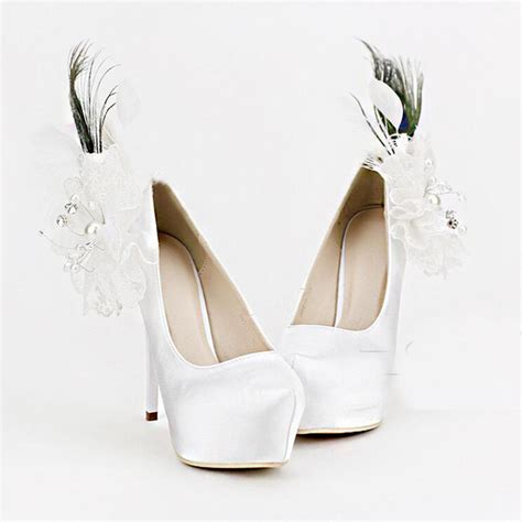 white satin high heels luxury white satin wedding shoes appliques and feather