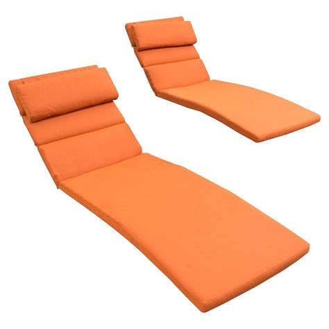 Lounge Pads Outdoor Chaises rst brands tikka orange outdoor chaise lounge cushions set of 2 op bmatt2 mo tka the home depot