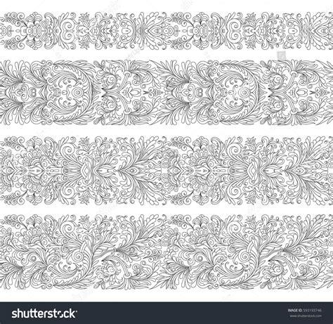 set of arabesque pattern frame border set seamless vintage border brushes templates stock vector