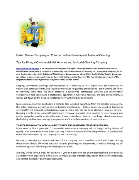Introduction Letter Housekeeping Company United Service Company On Commercial Maintenance And Janitorial Clean